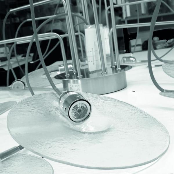 Detalles cristla Luminaria en suspensión decorativa ODA para interior fabricada por El Torrent