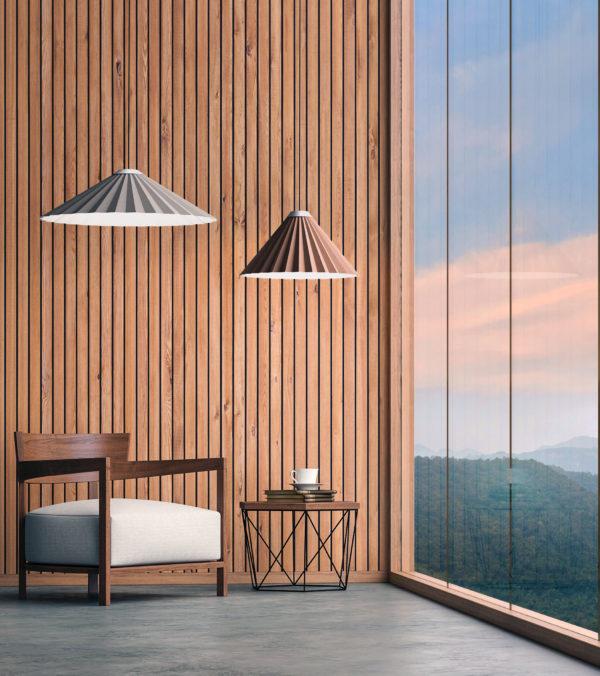 Luminaria decorativa de suspensión Plise en ventana fabricada por El Torrent