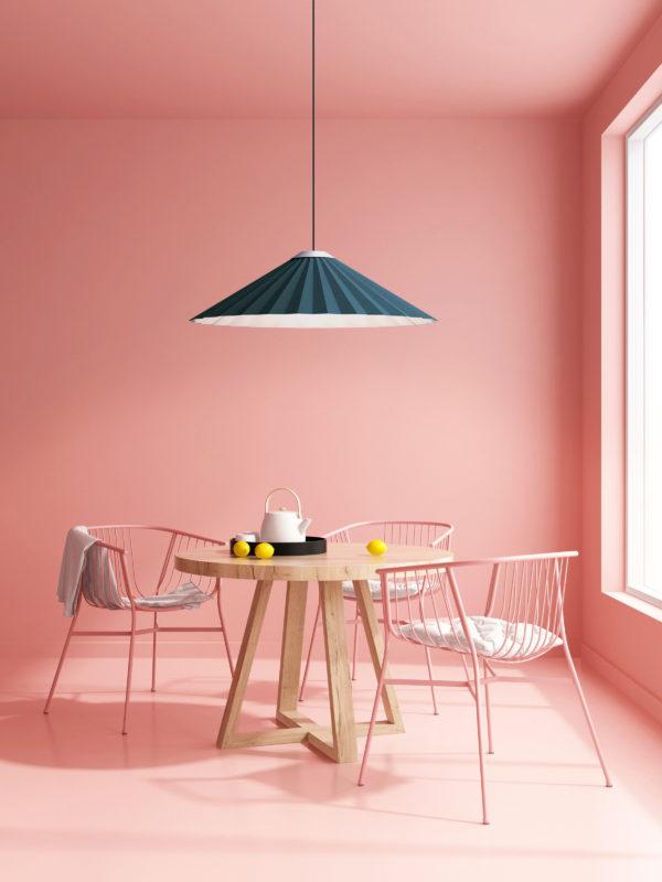Luminaria decorativa de suspensión Plise en salón  fabricada por El Torrent